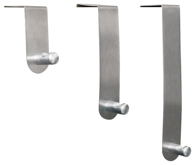 Brushed Stainless Steel Over The Door Hooks Hanger 3 Piece Set Chrome Con