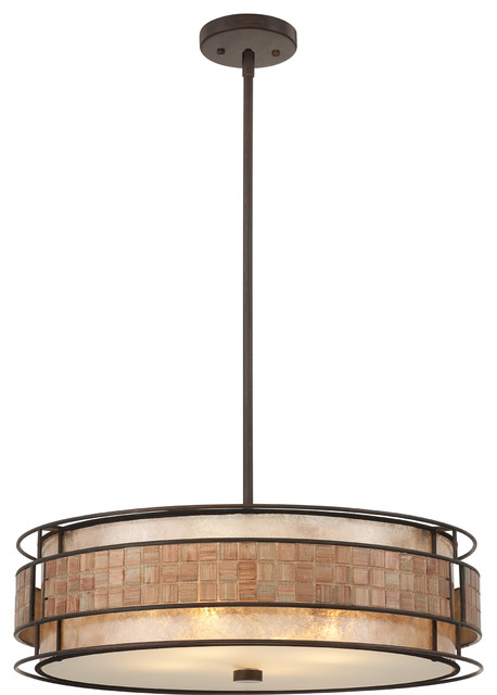 Exeter 4-Lights Pendant Lamp With Renaissance Copper Finish.