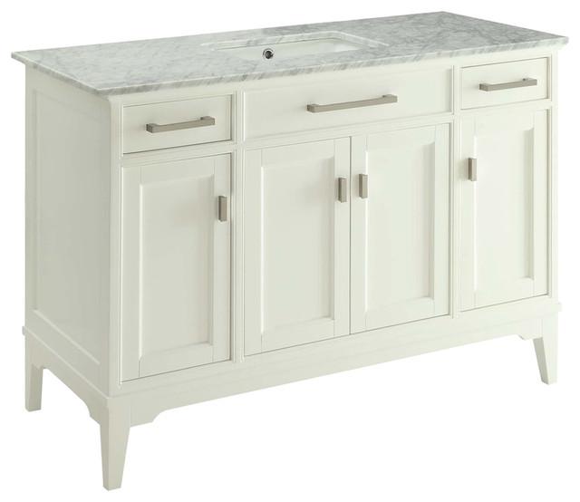 Orson Bathroom Vanity With Sink And Carrara Marble Top, 49.