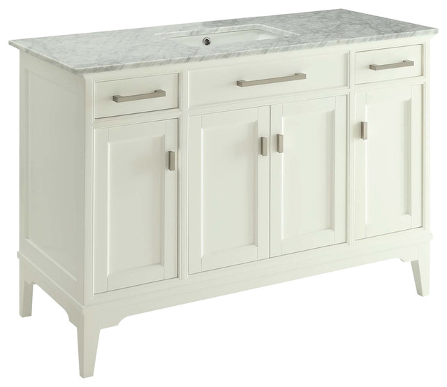 49 Modern Style Orson Bathroom Sink Vanity With Carrara Marble Top Soft Close Transitional