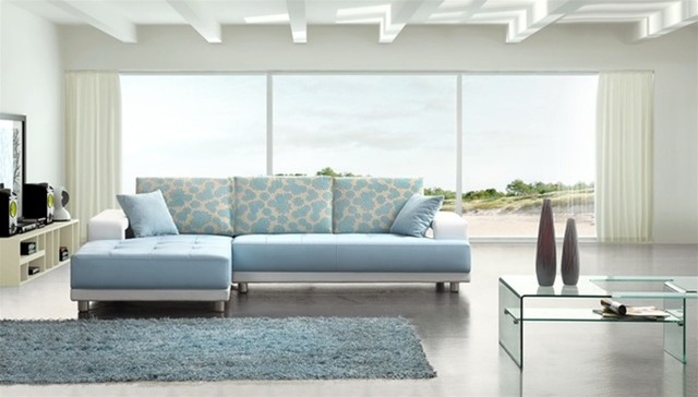Charmant Modern Baby Blue Leather Sectional Sofa