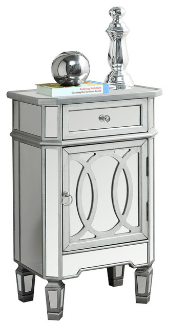 Amadeus Mirrored Accent Table Brushed Silver Traditional