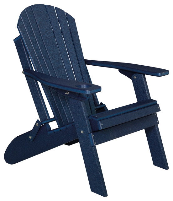 Poly Basic Folding Adirondack Chair With Cup Holder, Patriot Blue.