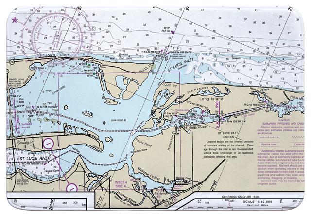 Fl St Lucie Inlet Fl Nautical Chart Memory Foam Bath Mat Contemporary Bath Mats By Island Girl Home Inc