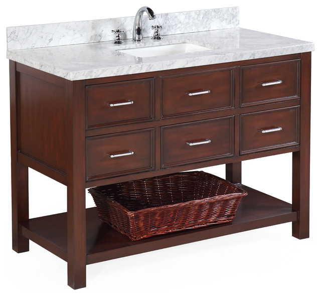 Ancerre Designs Maili White Single Sink Vanity With Natural Marble Top Common 48