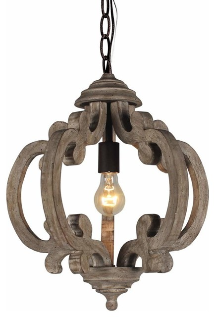 Rustic Wooden Chandelier Farmhouse Style 1 Light Wood Metal Pendant    Craftsman   Pendant Lighting   By Funneyle, Inc.