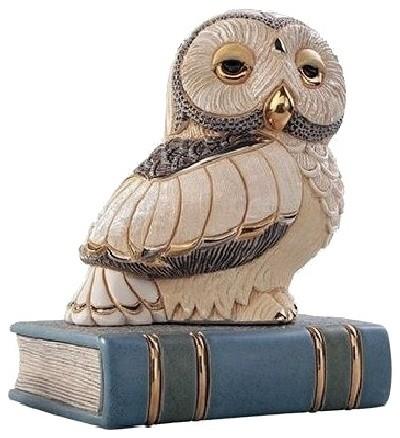 Owl on Book Ceramic Figurine