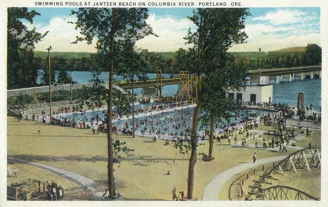 Portland Oregon View Of Jantzen Beach Swimming Pools Print Traditional Prints And