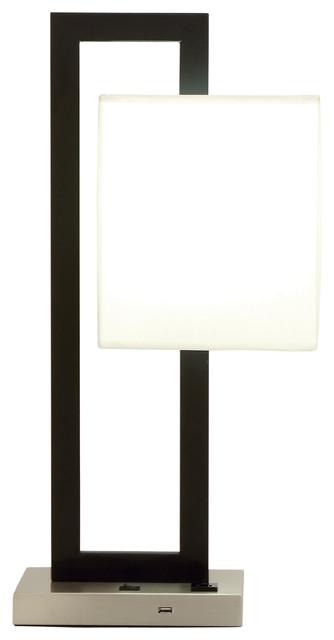 "Contemporary Rectangular Black Metal Table Lamp, USB Plug & Outlet, 15""x24"""