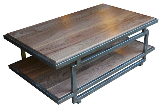 Tribeca Cocktail Table In Solid Walnut With A Metal Frame  Industrial Coffee  Tables