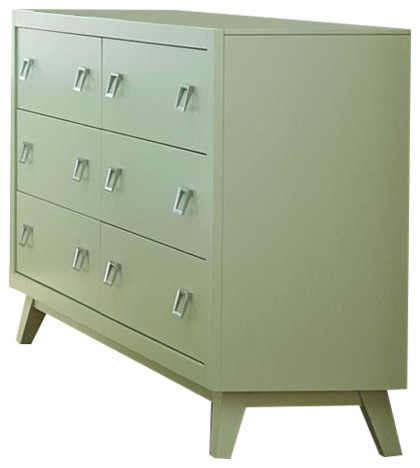 Homelegance Valpico 6-Drawer Dresser In Cool Gray And Olive.