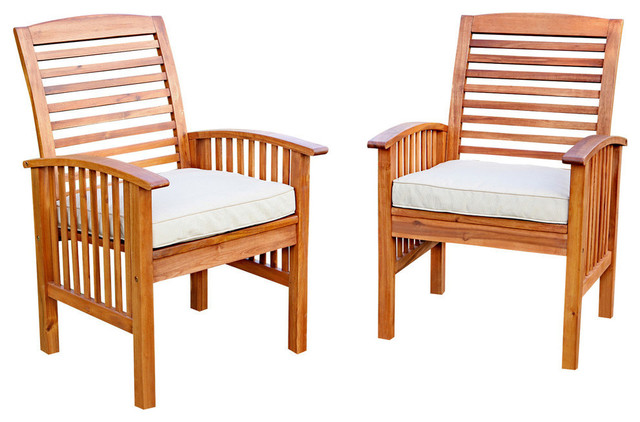 Walker Edison Owc2Br Brown Acacia, Set Of 2, Patio Chairs, Cushions