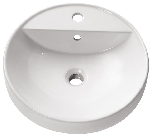 Round Semi Recessed Sink Contemporary Bathroom Sinks