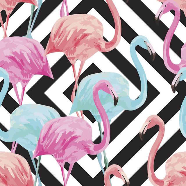 Flamingos Over Diamonds Removable Wallpaper Tropical