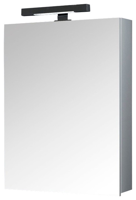 Glossy White Rectangular Medicine Cabinet With Mirror.