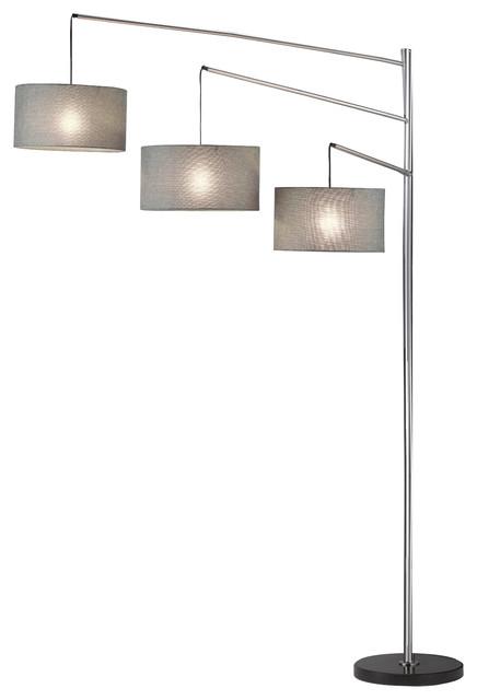 Durango 1-Light Floor Lamp Polished Steel White Fabric Shade