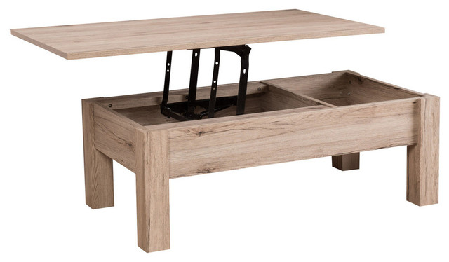 GDF Studio Enida Natural Light Brown Wood Lift Top Storage Coffee Table