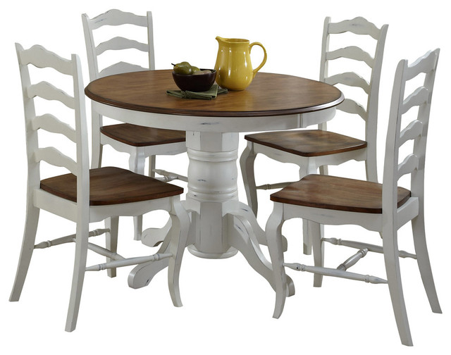 Montpellier Countryside 5-Piece Dining Set, White And Brown.