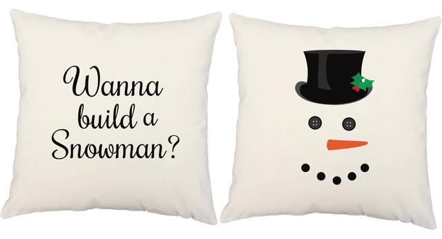 White Christmas Pillows, Build a Snowman Design, Set of 2