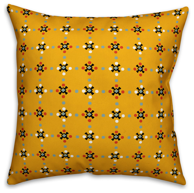 Whimsical Folk Pattern Yellow Outdoor Throw Pillow 18 X18