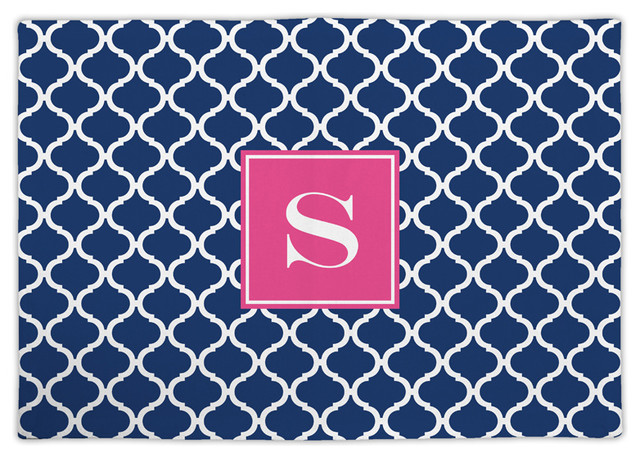 Fabric placemat ann tile single initial mediterranean placemats by boatman geller for Boutis turquoise