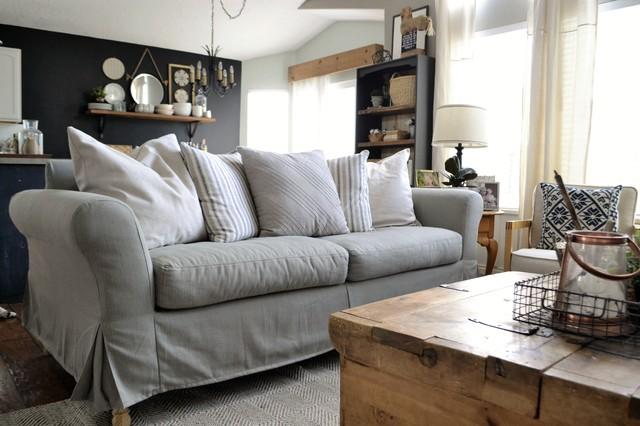 Custom Sofa Slipcovers In Herringbone Cement Fabric Transitional Sofas