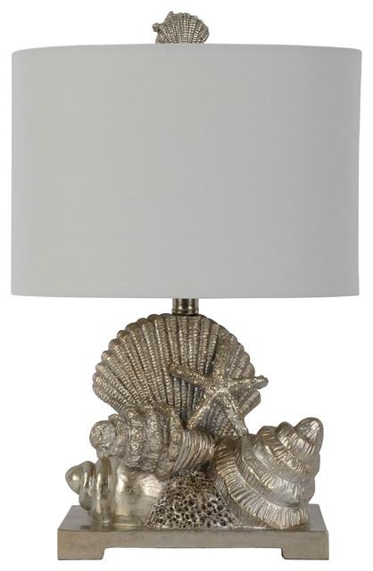 Cordelia Silver Leaf Seashell Table Lamp.