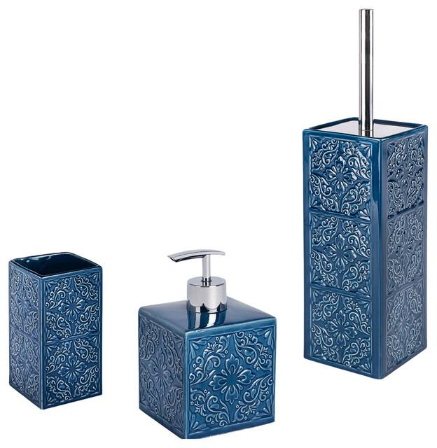 Cordoba 3-Piece Bathroom Accessories Set, Blue