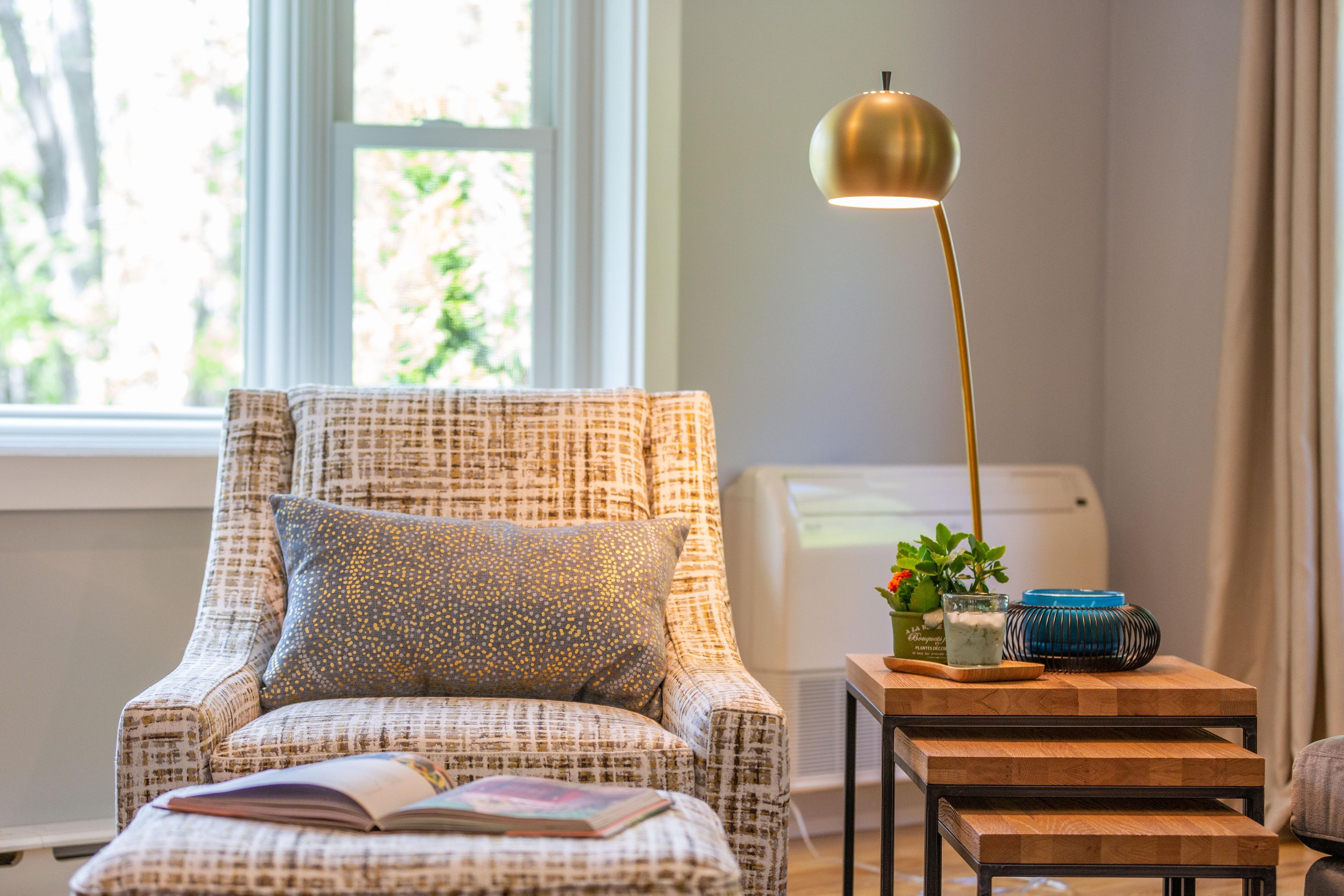 Midcentury Modern Sunroom + Living Room