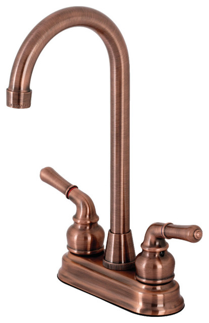 "Kingston Brass Magellan Two-Handle 4"" Centerset Bar Faucet, Antique Copper"