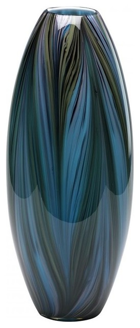 Cyan Design Peacock Feather Vase Multi Colored Blue Contemporary
