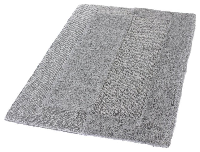 Silver Gray Thick Plush Reversible Cotton Bathroom Rug
