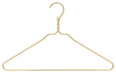 Metal Clothing Hangers, Gold, Set of 10