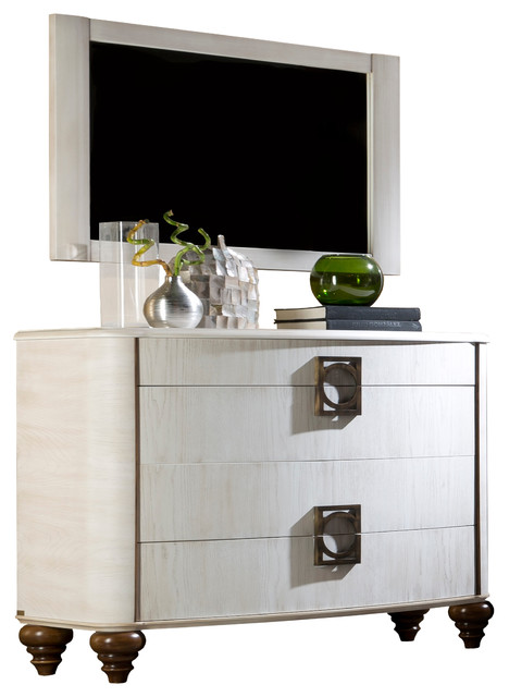 Elegance 4-Drawer Ash Dresser, With Mirror.