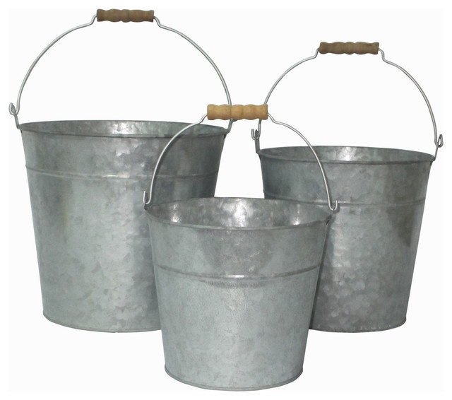 Galvanized Metal Garden Buckets, Set Of 3