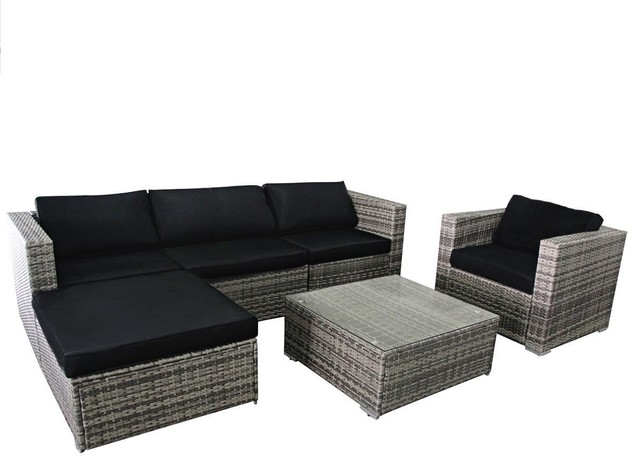 6 Piece Rattan Wicker Furniture Set Outdoor Patio Garden Sectional Sofa Set  Tropical Outdoor
