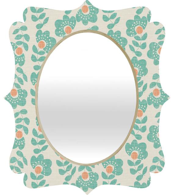 Turquoise Wall Mirror wendy kendall lovisa aqua quatrefoil mirror - contemporary - wall