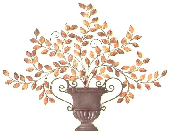 Tuscan Metal Wall Art tuscan antique brown iron and tole leaf urn wall plaque