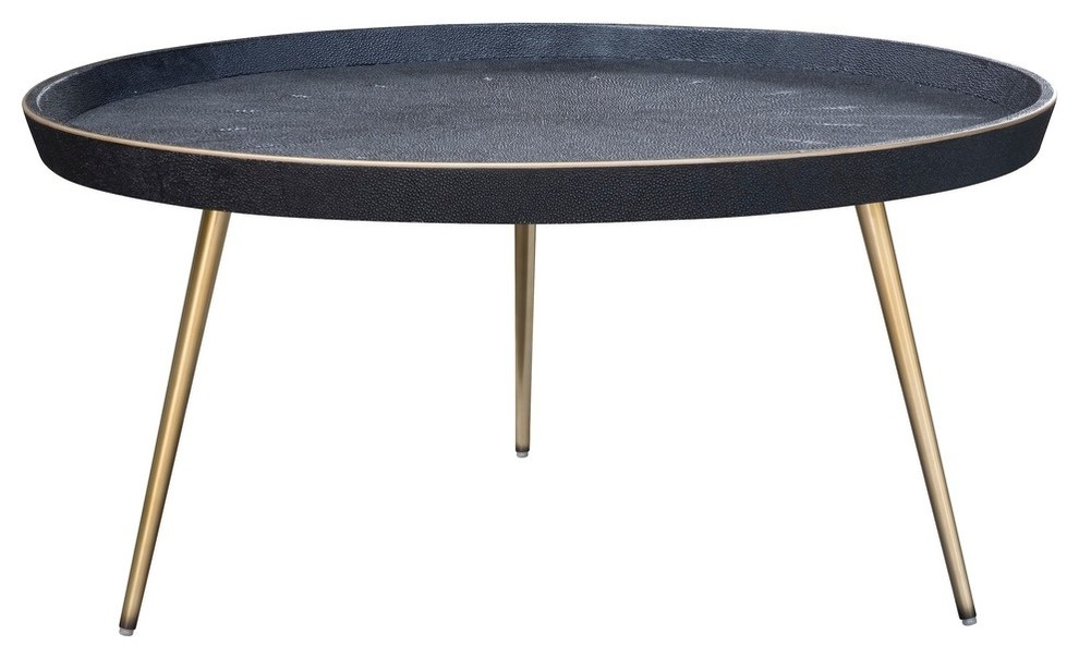 Josephine Coffee Table In Black Shagreen And Matte Brass Base