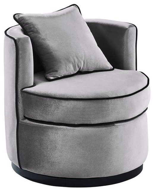 Merveilleux Truly Contemporary Swivel Chair, Gray Velvet And Black Velvet Piping