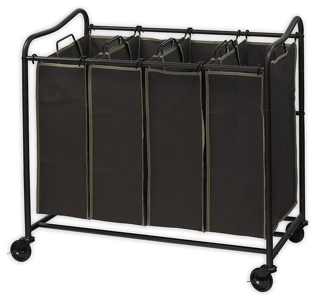 4 Bags, Brown 2 Pockets Each JINAMART Brown Heavy Duty Laundry Sorter 4 Bag Laundry Hamper Basket with Wheels Storage Cart