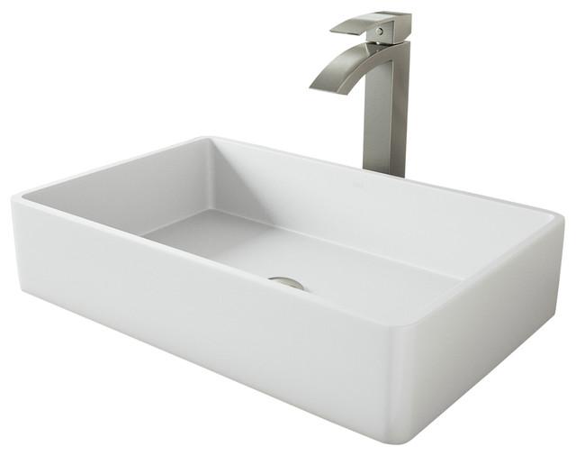 Vigo Magnolia Matte Stone Vessel Sink With Duris Vessel