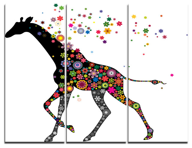 """cheerful Giraffe Running"" Digital Canvas Print, 3 Panels, 36""x28""."