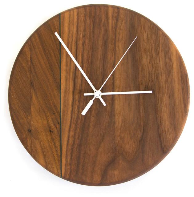 Walnut Wall Clock Contemporary Wall Clocks By