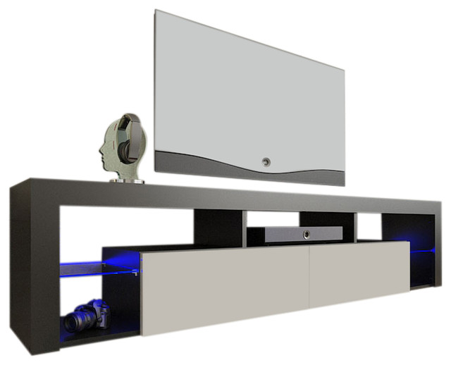 "TV Stand Milano 200 LED Wall Mounted Floating 79"" TV Stand - Contemporary - Entertainment ..."