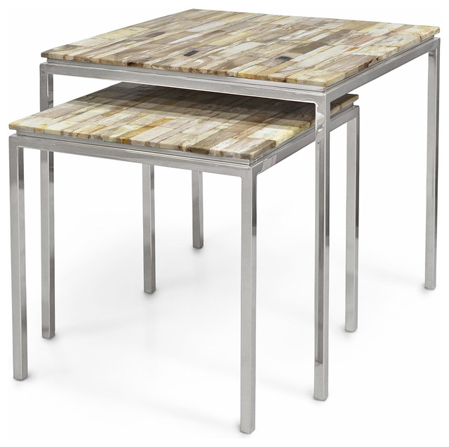 Sparrow Industrial Loft Petrified Wood Square Nesting Side Tables, Set Of 2  Industrial Side
