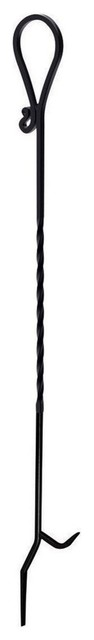 "Panacea 15353 Twisted Steel Fireplace Poker, Black, 40""."
