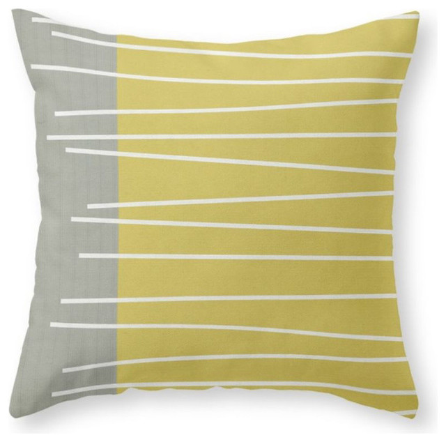 """Midcentury Modern Textured Stripes Pillow Cover, 18""""x18"""" With Pillow Insert"""