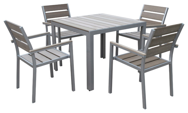 Sunbleached Gray 5Piece Outdoor Dining Set Scandinavian