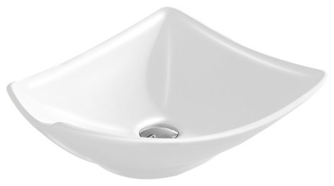 Vitreous China Vessel Sink, White, 16.94.